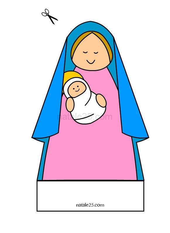 Presepe di carta – Madonna con Gesù Bambino
