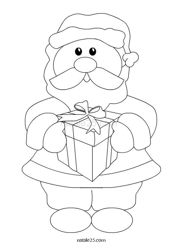 Disegni Natale – Babbo Natale con regalo