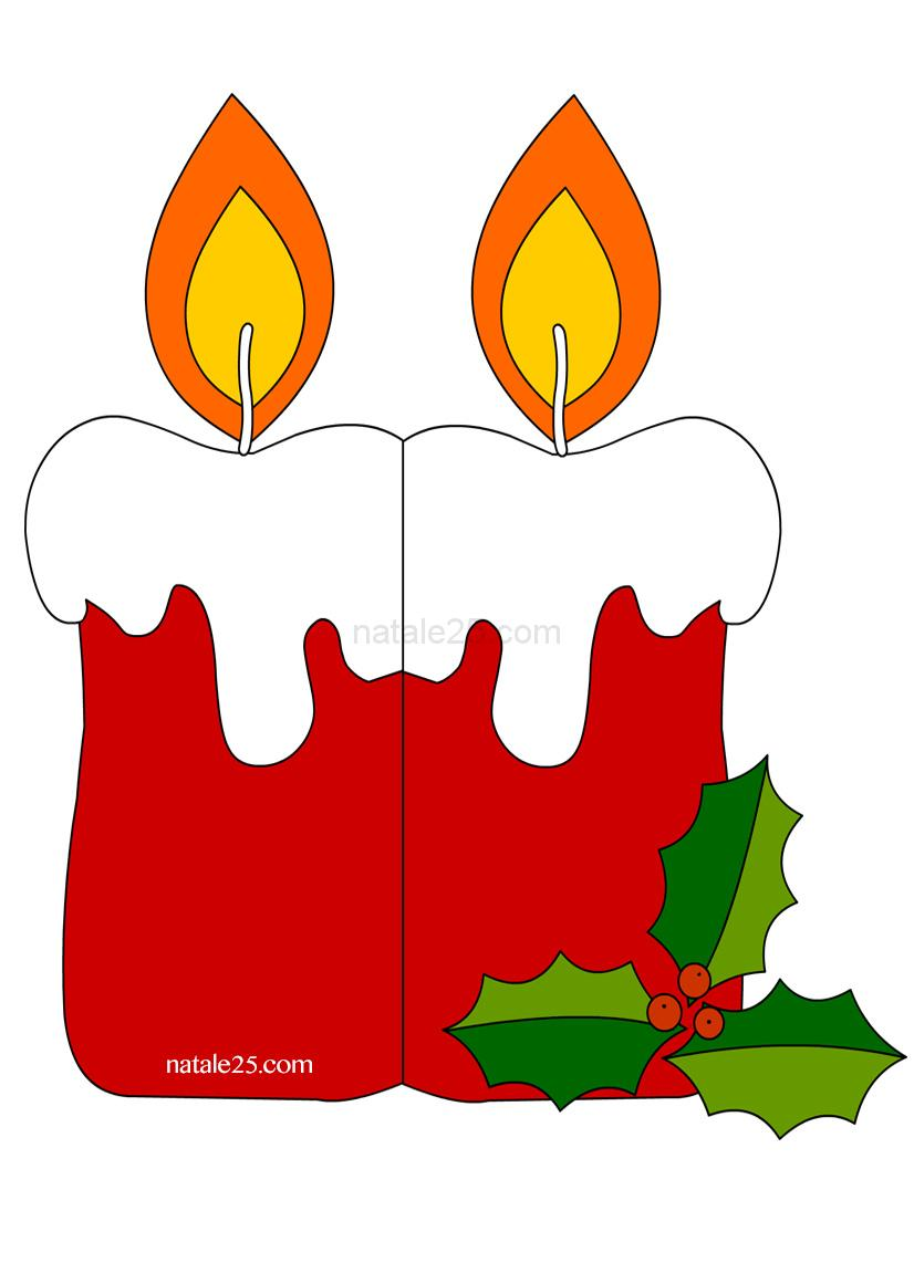 Biglietto di natale con candela natale 25 for Candele colorate