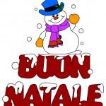 Scritta Buon Natale con pupazzo di neve