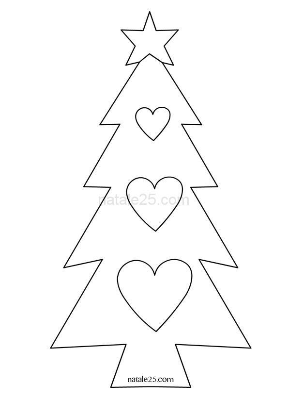 Immagini Di Alberi Di Natale Da Colorare E Stampare.Albero Di Natale Con Cuori Da Colorare Natale 25