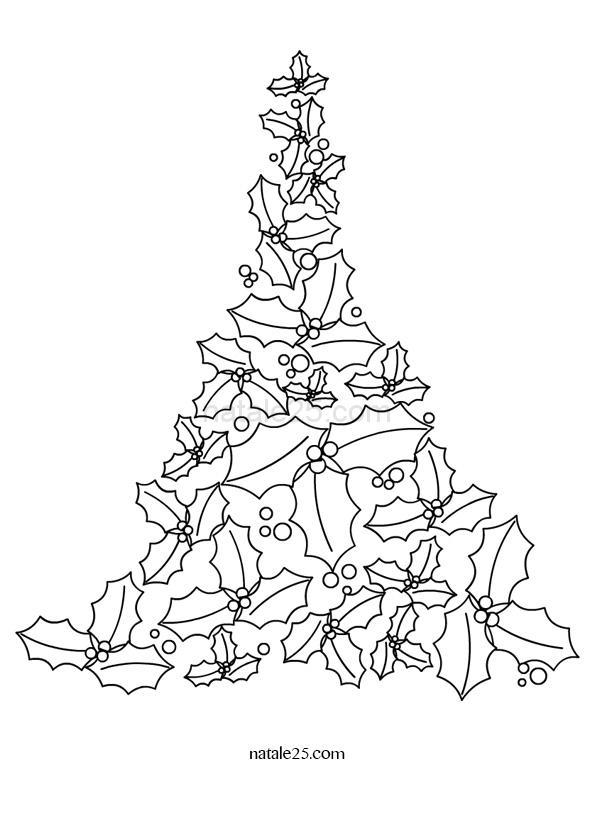 Disegno Albero di Natale con foglie di agrifoglio