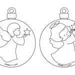 Palline Natale con angeli da colorare