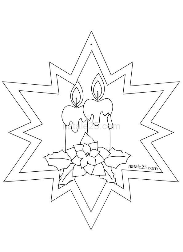 Disegno Stella Di Natale Da Colorare.Stella Di Natale Con Candele Per Addobbi Natale 25