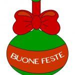 Pallina di Natale con scritta Buone Feste