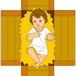 Bambino Gesù nella culla pieghevole