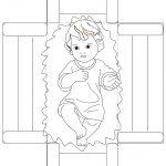 Bambino Gesù nella culla pieghevole da colorare