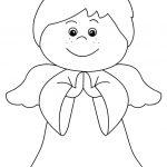 Piccolo angelo che prega da colorare