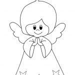 Disegno angelo che prega da colorare