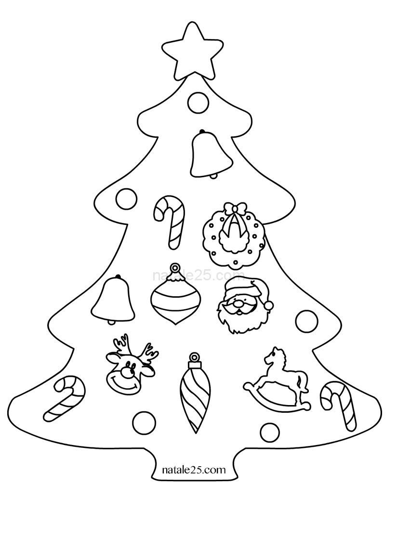 Disegno albero natalizio con decorazioni natale 25 - Disegni di natale per finestre ...