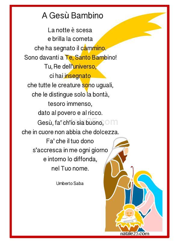 Poesie Di Natale Per Bambini Da Stampare.Poesia Di Natale A Gesu Bambino Natale 25
