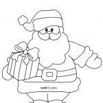 Disegni di Natale da colorare Babbo Natale con pacco
