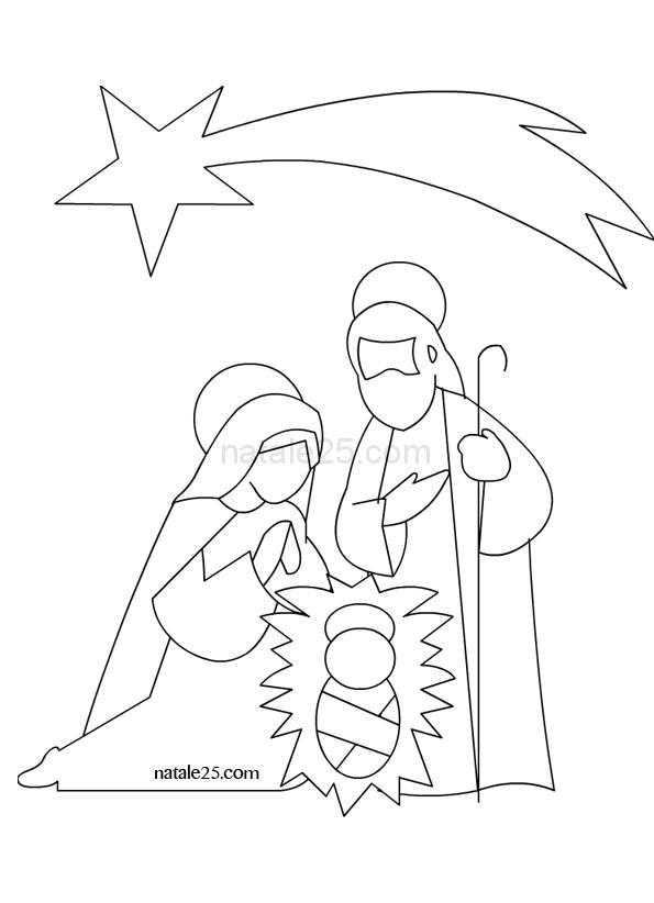 Disegno Gesù Giuseppe e Maria da stampare