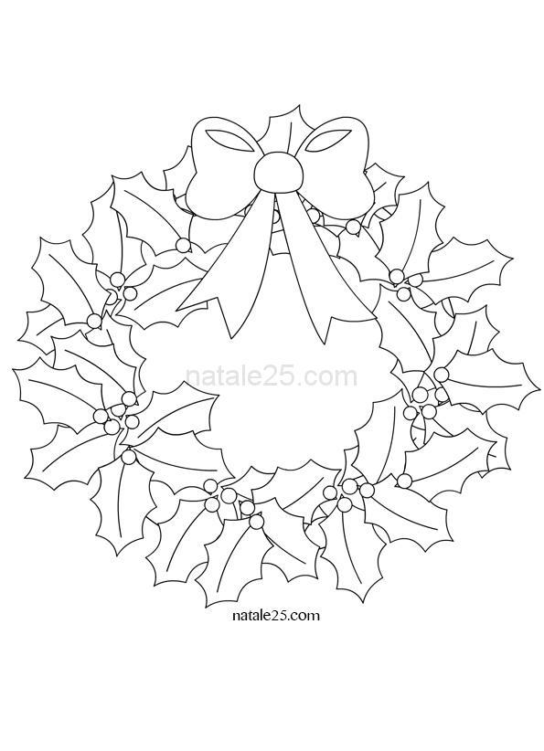 Immagini Di Ghirlande Di Natale.Ghirlanda Di Natale Da Colorare Natale 25