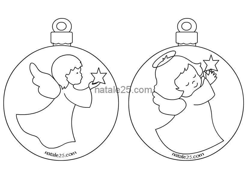 Disegni Da Colorare Angeli Di Natale.Palline Natale Con Angeli Da Colorare Natale 25