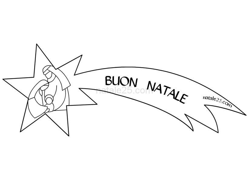 Stella Cometa con Natività da colorare | Natale 25