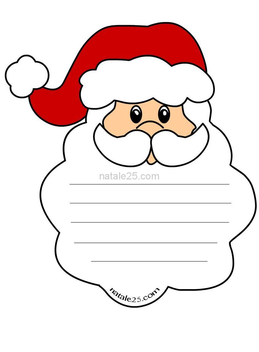 Bambini Babbo Natale Disegno.Letterina Per Bambini A Forma Di Babbo Natale Natale 25