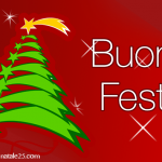 Auguri di Buone Feste con albero di Natale