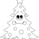 Albero di Natale mascotte da colorare