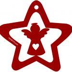 Stella rossa con angelo Decorazioni natalizie di carta
