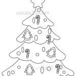 Disegno albero di Natale con decorazioni