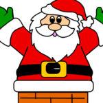 Babbo Natale nel camino da stampare