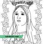 Disegno Madonna con cornice di fiori