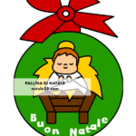 Pallina di Natale di carta con Gesù Bambino